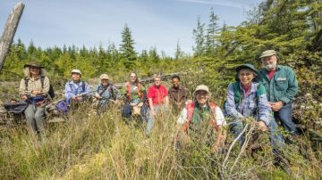 Group at wetland near junction of Back & Mitchell Bay Road., Malcolm Island. | Photo by Darryl Luscombe